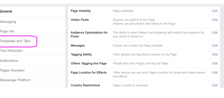 Templates and Tabs, Facebook Business page