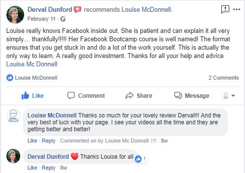 Louise McDonnell 6 Week Facebook Academy Testimonial